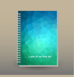 Cover of diary or notebook blue green neon vector