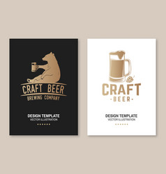 craft beer poster flyer template card with bear vector image