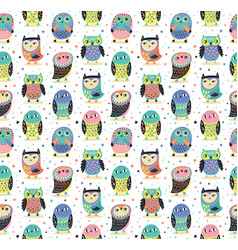Cute cartoon decorative owls seamless pattern vector