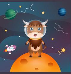 Cute yak in space galaxy vector