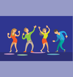 dancing women and men disco performance vector image