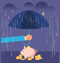 Deposit protection concept hand with umbrella vector