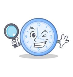 detective clock character cartoon style vector image