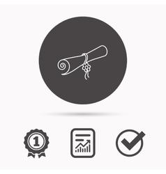 Diploma icon Graduation document sign vector