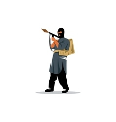 East soldier with a grenade launcher in his hands vector image