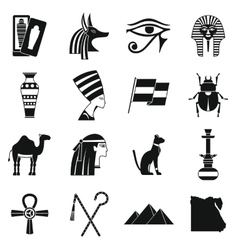 Egypt travel items icons set simple style vector image