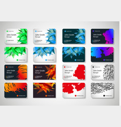 eight patterns of multi-colored business cards vector image