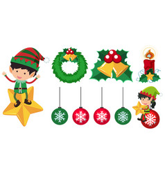Elves and christmas ornaments vector
