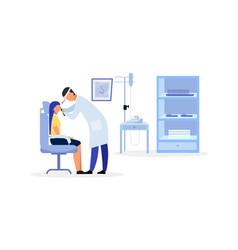 Ent doctor checking throat flat otolaryngologist vector