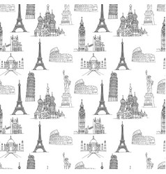 famous places seamless pattern vector image