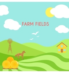 Farm fields landscape Cartoon green field of vector image