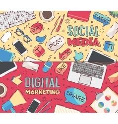 Flat work social media digital marketing vector image