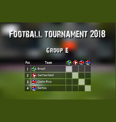 Football results table vector