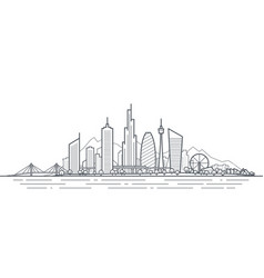 futuristic cityscape thin line art vector image