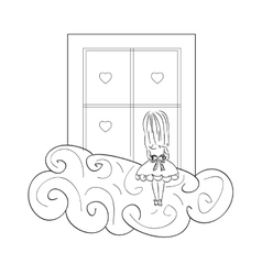 girl by window vector image