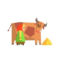 Girl Milking The Cow vector