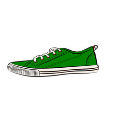 green sneakers icon flat of sneakers vector image