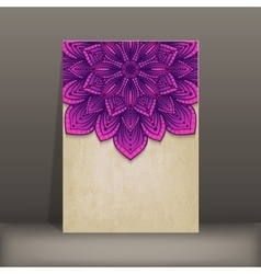 Grunge paper card with purple floral circular vector