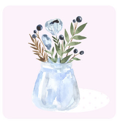 hand drawn watercolor bouquet in the bank blue vector image