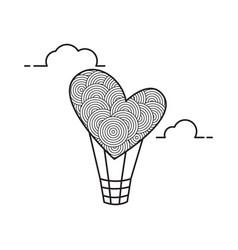 hot air balloon in a shape heart cutout vector image
