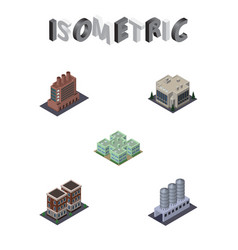 isometric construction set of clinic industry vector image vector image