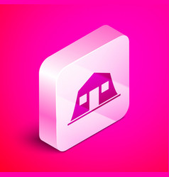 Isometric military barracks station icon isolated vector