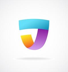 J letter logo template Shield shape sign vector image vector image