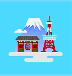 japan landmark tokyo tower kaminarimon mt fuji vector image
