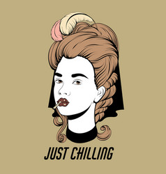 Just chilling hand drawn pretty vector