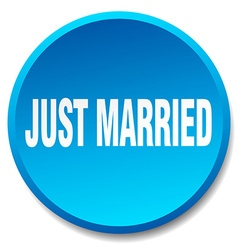 Just married blue round flat isolated push button vector