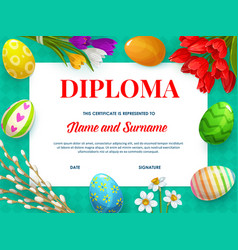 kids education diploma or certificate template vector image