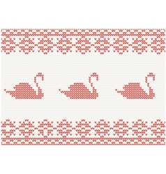 Knitted pattern with swan vector