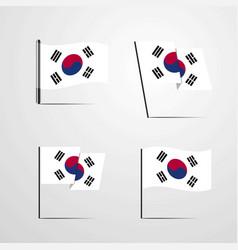 Korea south waving flag set design vector