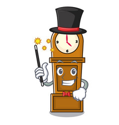 Magician grandfather clock mascot cartoon vector