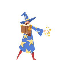male sorcerer reading magic book bearded wizard vector image