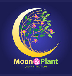 Moon and plant symbol vector