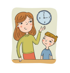 Mother teaches the son to learn the time vector