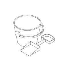 Pail and shovel icon isometric 3d style vector