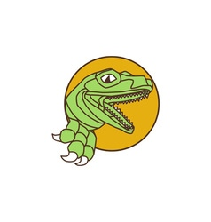 Raptor Head Breaking Out Wall Circle Drawing vector