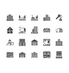 Real estate flat glyph icons set house sale vector
