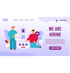 Recruitment agency online service landing page vector