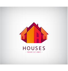 roof logos house building real estate vector image