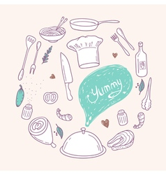 Round with stylized food hand lettering and vector image
