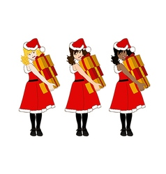 Santa Girl Blonde Brown Black Holding Presents vector image