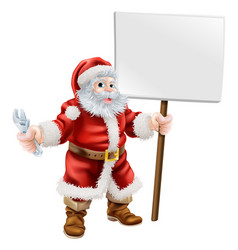 Santa holding spanner and sign vector