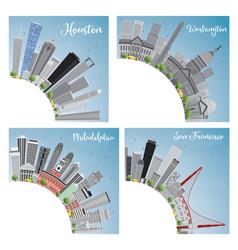 Set 4 city in usa houston washington dc vector