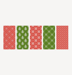 set holiday winter backgrounds in red green vector image