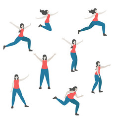 set of a woman in different poses vector image