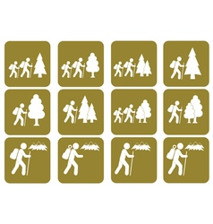 Set of hiking icon isolated sign symbol vector image