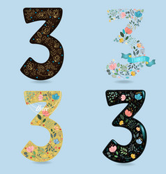 Set of numbers three with folk floral decor vector